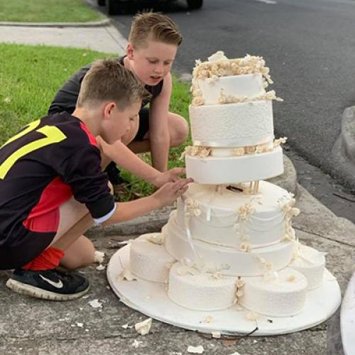 Abandoned Wedding Cake Found On The Side Of Melbourne Road